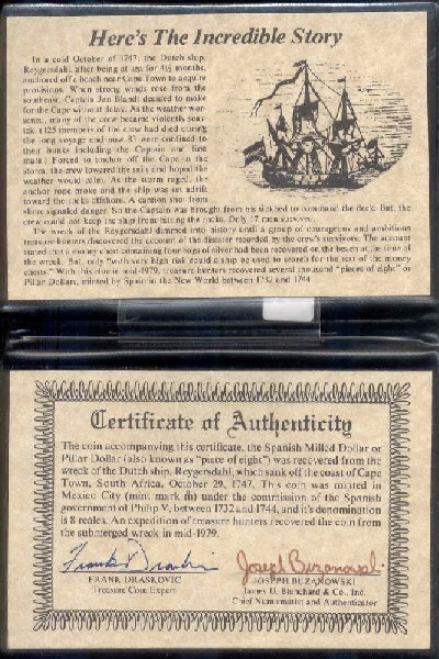 Reijgersdaal Shipwreck Coins Pillar Dollar Coins