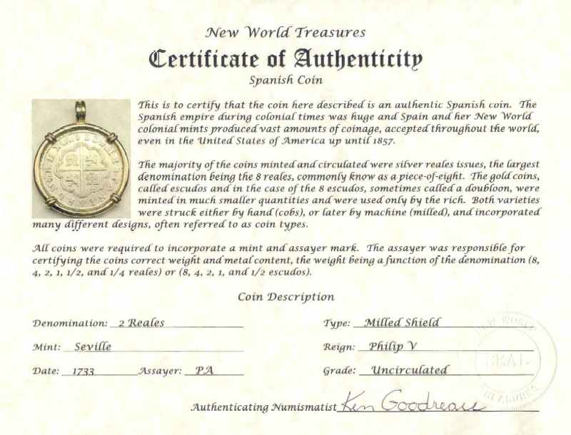 Shipwreck Coin And Spanish Coin Certificates Of Authenticity